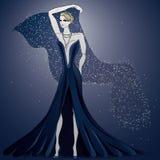 Vestido de noche encantador azul stock de ilustración