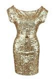 Vestido de oro de la lentejuela con la correa de oro Foto de archivo