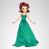 Vestido de princesa In Green Evening Fotografía de archivo libre de regalías