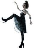 Vestido de seda do verão do preto da fôrma da mulher Fotos de Stock Royalty Free