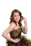 Vestido del baile de fin de curso de la muchacha que lleva adolescente Imagenes de archivo