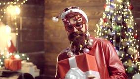 Vestido del A?o Nuevo Hombre loco barbudo que mira la c?mara Inconformista barbudo atractivo ?rbol de navidad La Navidad santa metrajes