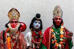 Vestido desgastando dos povos como a ram indiana do deus, Hanuman Foto de Stock Royalty Free