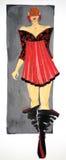 Vestido dibujado en acuarela Fotografía de archivo libre de regalías