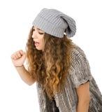 Vestido do inverno para uma menina com gripe fotografia de stock