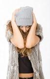 Vestido do inverno para uma menina desesperada imagem de stock