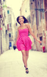 Vestido do verão - mulher bonita feliz em Veneza Imagem de Stock