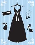 Vestido e acessórios da mulher ilustração do vetor