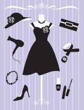 Vestido e acessórios da mulher Foto de Stock Royalty Free