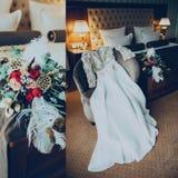 Vestido e ramalhete de casamento da colagem na sala de hotel Fotografia de Stock Royalty Free