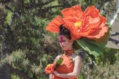 Vestido en muchacha de maquillaje festiva Fotos de archivo