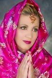 Vestido en sari Fotos de archivo libres de regalías