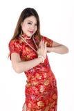 Vestido femenino chino atractivo asiático joven tradicional Imagen de archivo libre de regalías
