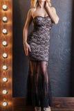 Vestido longo preto fotografia de stock