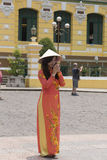 Vestido nacional do Ao Dai Vietnamese foto de stock