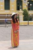 Vestido nacional do Ao Dai Vietnamese fotografia de stock