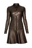Vestido negro de cuero aislado en blanco imagen de archivo libre de regalías