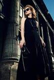 Vestido negro largo Fotografía de archivo