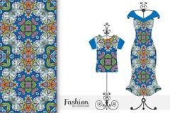 Vestido para mujer y camiseta en una suspensión con el modelo geométrico inconsútil Ejemplo de la moda del vector libre illustration