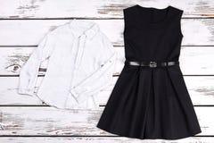 Vestido retro negro de las costuras, blusa imágenes de archivo libres de regalías