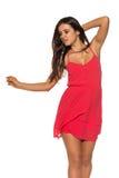 Vestido rojo brillante Imágenes de archivo libres de regalías