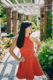 Vestido rojo de las mujeres de la moda Fotos de archivo