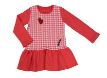Vestido rojo del algodón Aislante en blanco Fotografía de archivo