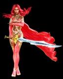 Vestido rojo del guerrero de la mujer del mulato con la espada Fotografía de archivo libre de regalías