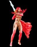 Vestido rojo del guerrero de la mujer del mulato con la espada Imagen de archivo