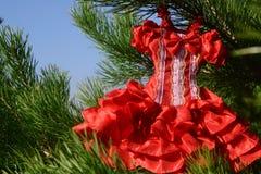 Vestido rojo femenino Imagenes de archivo