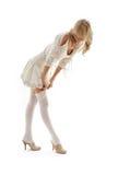 Vestido rubio precioso para arriba sobre blanco Foto de archivo