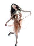 Vestido sem mangas do verão de seda do marrom da forma da mulher Imagens de Stock