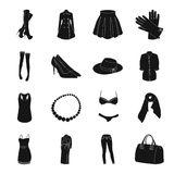 Vestido, sutiã, sapatas, roupa do ` s das mulheres Os ícones ajustados da coleção da roupa do ` s das mulheres no estilo preto ve Fotografia de Stock Royalty Free