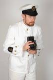 Vestido tropical principal WWII do oficial mesquinho da marinha real Foto de Stock Royalty Free