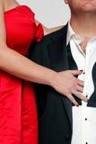 Vestido vermelho e laço preto imagem de stock