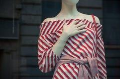 vestido vermelho no manequim na loja da forma para o sho das mulheres Imagens de Stock Royalty Free