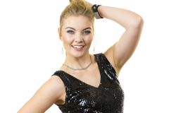 Vestido vestindo do party girl com lantejoulas imagens de stock royalty free