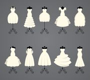 Vestidos de boda en diversos estilos Fotos de archivo libres de regalías
