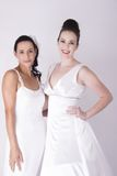 Vestidos de casamento entusiasmado do desgaste das noivas novas lindos Foto de Stock
