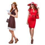 Vestidos de Vogue e acessórios da mulher Imagens de Stock