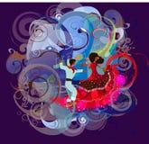 Vestidos del colombino y moda y danza stock de ilustración