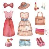 Vestidos e acessórios da aguarela Fotos de Stock