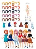 Vestidos e jogo dos penteados Imagem de Stock