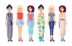 Vestidos elegantes da coleção elegante de Vogue do verão ilustração stock