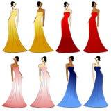 Vestidos femeninos de los modelos de manera stock de ilustración