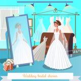 Vestidos nupciais do casamento Ilustração lisa do vetor ilustração stock