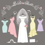 Vestidos nupciales y de la dama de honor Fondo de la manera Imagenes de archivo