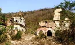 Vestige of old castle of Pathrigarh, Satna, MP, India. Ruined ancient castle of pathrigarh state, located foothills of vindhya mountain range in the middle of Royalty Free Stock Images