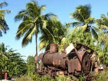 Vestige of an old locomotive in the West Indies. Vestige of an old locomotive. In the French West Indies. Guadeloupe Royalty Free Stock Photos