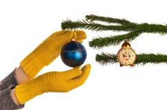 Vestindo a árvore de Natal Imagem de Stock
